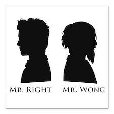 """Mr. Right Vs. Mr. Wong Square Car Magnet 3"""" x 3"""""""