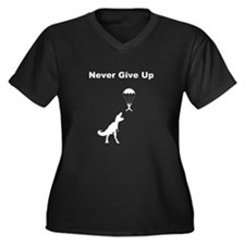 Never Give Up Women's Plus Size V-Neck Dark T-Shir