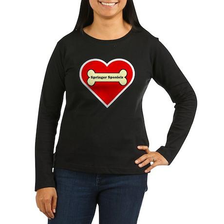 Springer Spaniels Heart Women's Long Sleeve Dark T