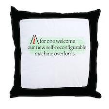 AI overlords dark Throw Pillow