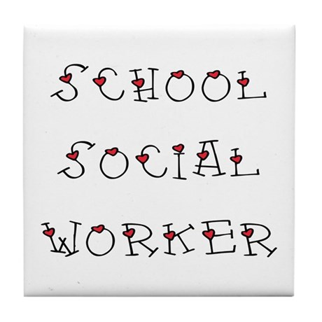 School SW Hearts Tile Coaster