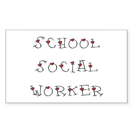 School SW Hearts Rectangle Sticker