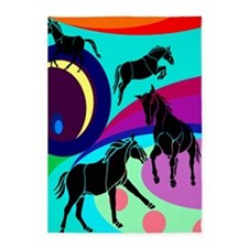Pop Art Horses 5'x7'Area Rug