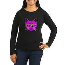 Hipster Cat Neon Pink T-Shirt