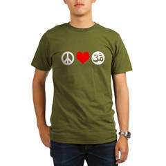 Peace Love Yoga Organic Men's T-Shirt (dark)