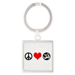 Peace Love Yoga Square Keychain