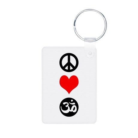 Peace Love Yoga Aluminum Photo Keychain