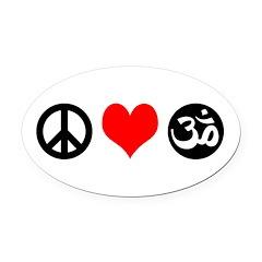 Peace Love Yoga Oval Car Magnet