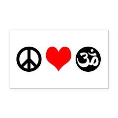 Peace Love Yoga Rectangle Car Magnet
