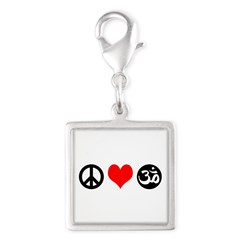 Peace Love Yoga Silver Square Charm