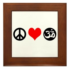 Peace Love Yoga Framed Tile