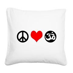 Peace Love Yoga Square Canvas Pillow