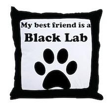 Black Lab Best Friend Throw Pillow