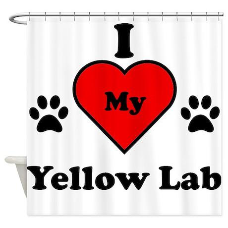 I Heart My Yellow Lab Shower Curtain