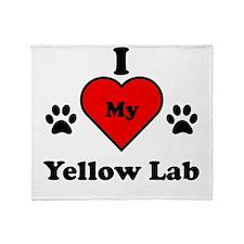 I Heart My Yellow Lab Throw Blanket