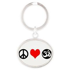 Peace Love Yoga Oval Keychain