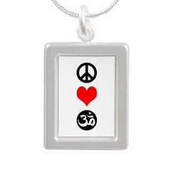 Peace Love Yoga Silver Portrait Necklace