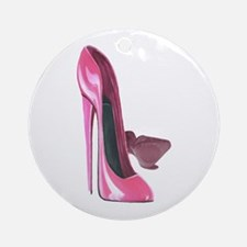 Pink Stiletto Shoes Art Ornament (Round)