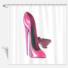 Pink Stiletto Shoes Art Shower Curtain