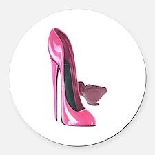 Pink Stiletto Shoes Art Round Car Magnet