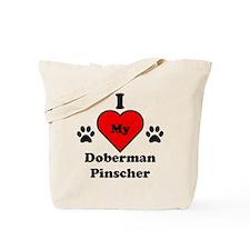 I Heart My Doberman Pinscher Tote Bag
