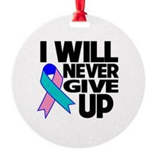 Never Give Up Thyroid Cancer Ornament