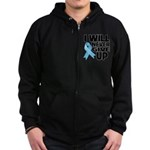 Never Give Up Prostate Cancer Zip Hoodie (dark)