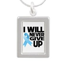Never Give Up Prostate Cancer Silver Portrait Neck