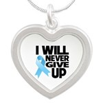 Never Give Up Prostate Cancer Silver Heart Necklac