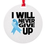 Never Give Up Prostate Cancer Round Ornament