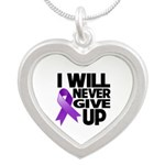 Never Give Up Pancreatic Cancer Silver Heart Neckl