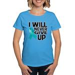 Never Give Up Ovarian Cancer Women's Dark T-Shirt