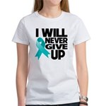 Never Give Up Ovarian Cancer Women's T-Shirt