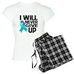 Never Give Up Ovarian Cancer Women's Light Pajamas