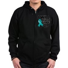 Never Give Up Ovarian Cancer Zip Hoodie