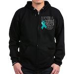 Never Give Up Ovarian Cancer Zip Hoodie (dark)