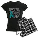 Never Give Up Ovarian Cancer Women's Dark Pajamas