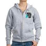 Never Give Up Ovarian Cancer Women's Zip Hoodie