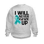 Never Give Up Ovarian Cancer Kids Sweatshirt