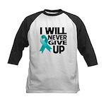 Never Give Up Ovarian Cancer Kids Baseball Jersey