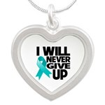 Never Give Up Ovarian Cancer Silver Heart Necklace