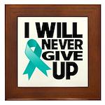 Never Give Up Ovarian Cancer Framed Tile