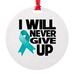 Never Give Up Ovarian Cancer Round Ornament