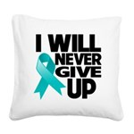 Never Give Up Ovarian Cancer Square Canvas Pillow