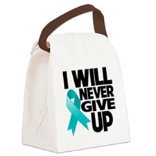Never Give Up Ovarian Cancer Canvas Lunch Bag