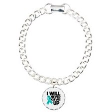 Never Give Up Ovarian Cancer Charm Bracelet, One C