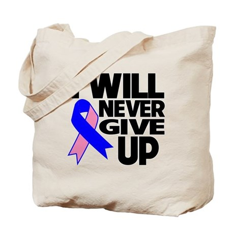 Never Give Up Male Breast Cancer Tote Bag