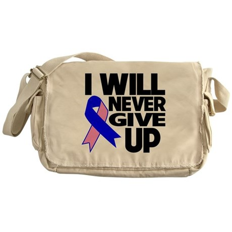 Never Give Up Male Breast Cancer Messenger Bag