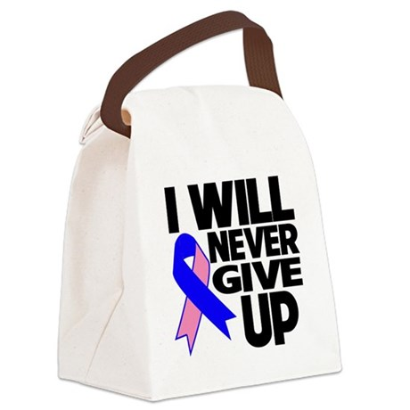 Never Give Up Male Breast Cancer Canvas Lunch Bag