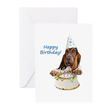 Basset Birthday Tshirt Greeting Cards